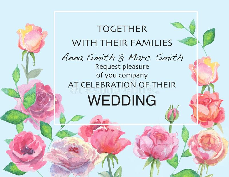 Вектор свадьбы флористический приглашает приглашение спасибо, дизайн акварели карточки иллюстрация вектора