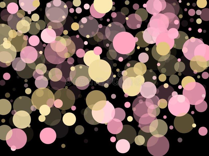 Вектор светового эффекта Bokeh Золото, пинк и розовый цвет вокруг точек confetti, кругов разбрасывают на черноту Красивая предпос иллюстрация штока