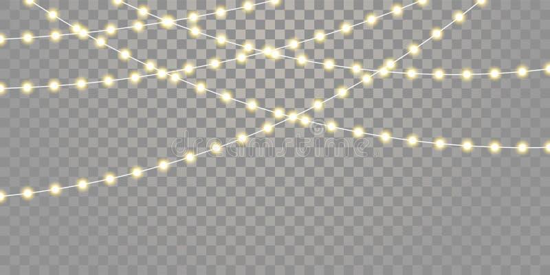 Вектор светов рождества изолировал строки для Xmas торжества праздника, дня рождения, светов лампы фестиваля на прозрачной предпо иллюстрация вектора