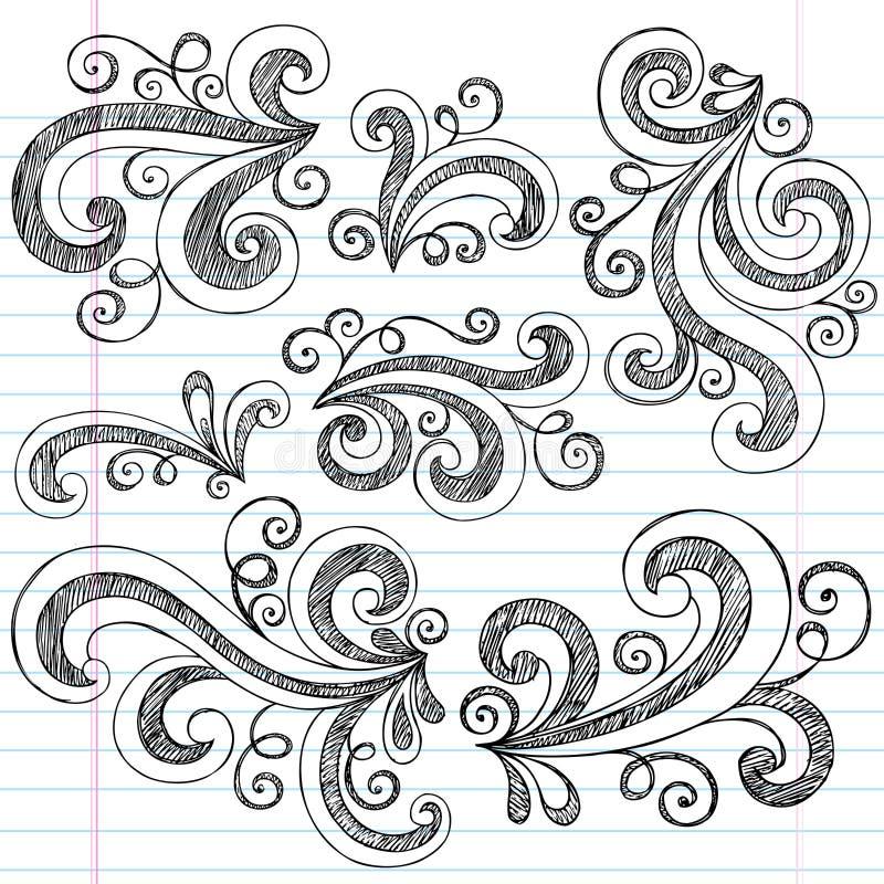 вектор свирлей тетради doodles установленный схематичный иллюстрация вектора