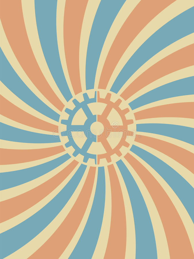 вектор свирли голубой шестерни предпосылки красный иллюстрация вектора