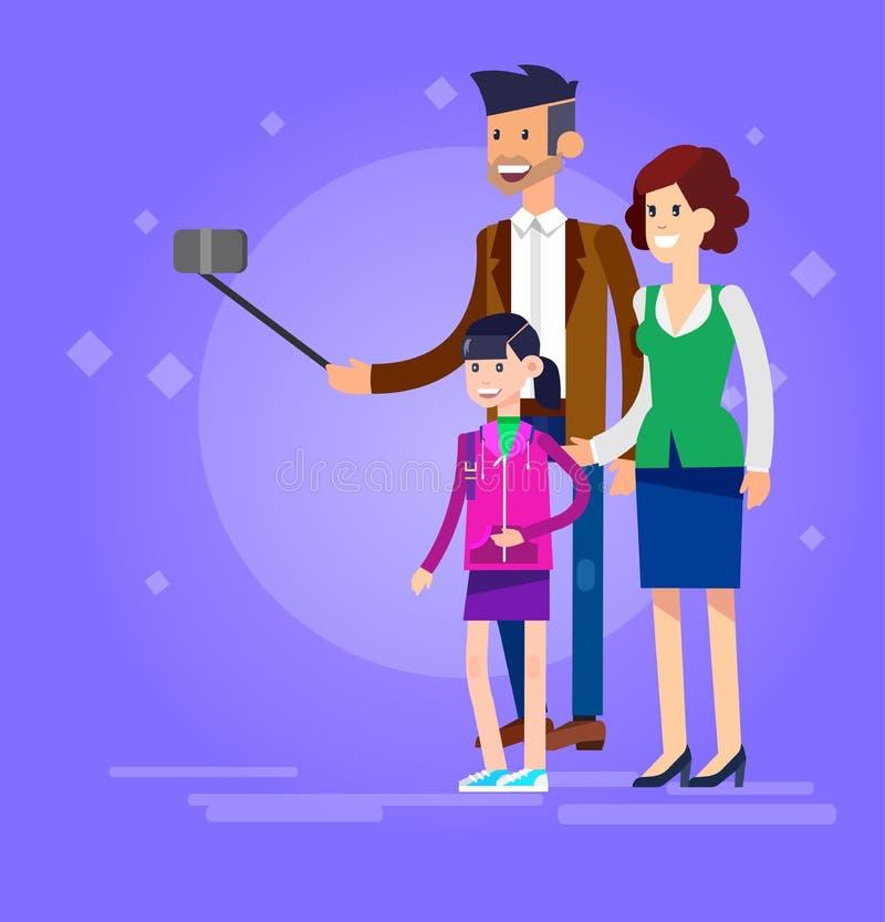 Вектор семьи и пар съемок Selfie иллюстрация вектора