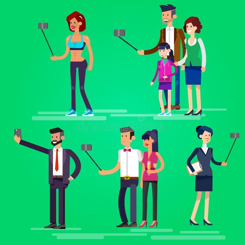 Вектор семьи и пар съемок Selfie бесплатная иллюстрация