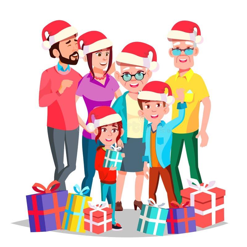 Вектор семьи рождества Канун в декабре жизнерадостно Мама, папа, дети, деды совместно Счастливый Новый Год подарков иллюстрация вектора