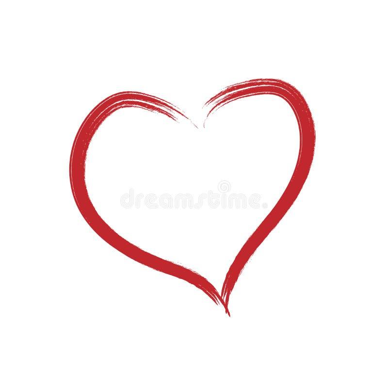 Вектор сердца Значок нарисованный рукой белизна изолированная предпосылкой Полезный на сеть, поздравительная открытка и день Вале иллюстрация штока