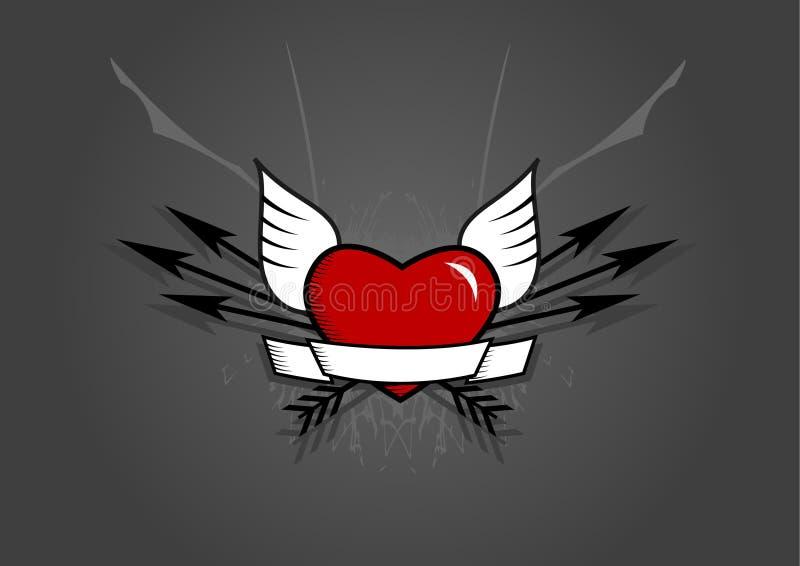 вектор сердца предпосылки искусства стрелок серый иллюстрация вектора