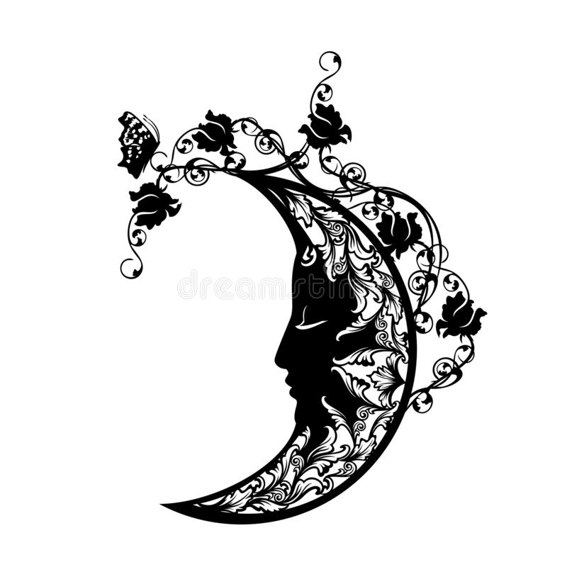 Вектор серповидной луны спать черно-белый флористический иллюстрация штока