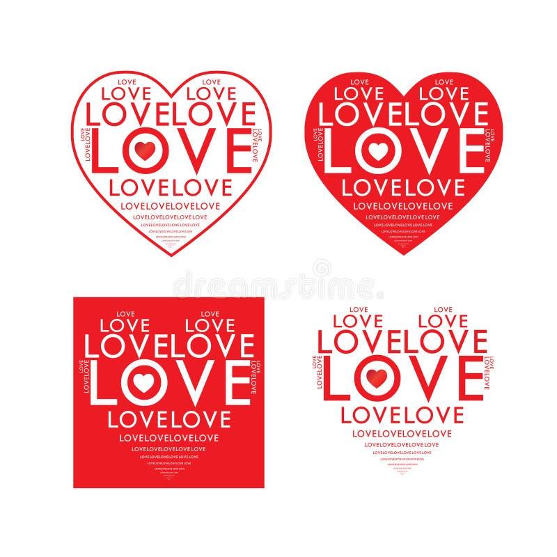 Вектор сердца текста влюбленности красный стоковые фотографии rf