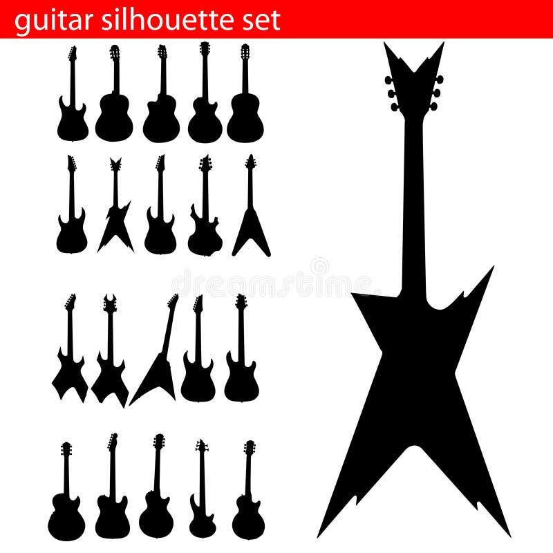 вектор силуэта гитары установленный иллюстрация вектора