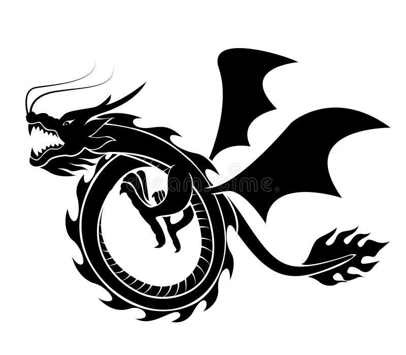 Вектор силуэта дракона стоковое изображение rf
