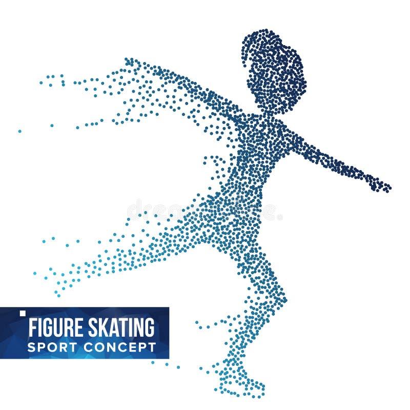 Вектор силуэта игрока фигурного катания Точки полутонового изображения Динамический спортсмен катания на коньках в действии Части иллюстрация вектора
