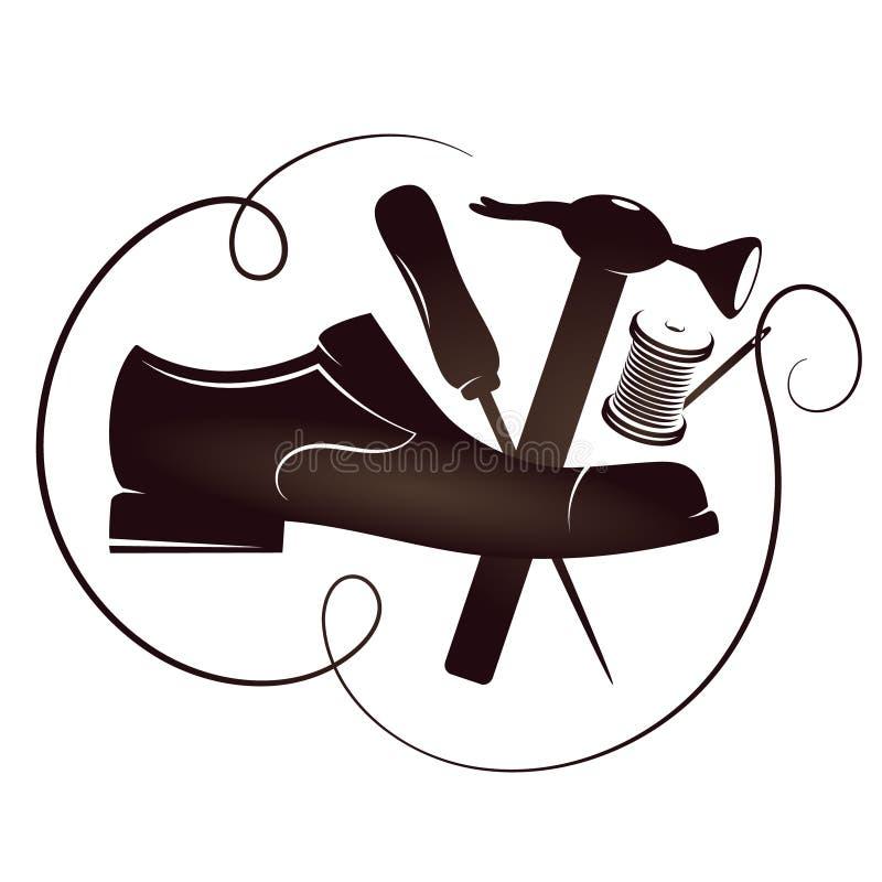 Вектор силуэта ремонта ботинка бесплатная иллюстрация