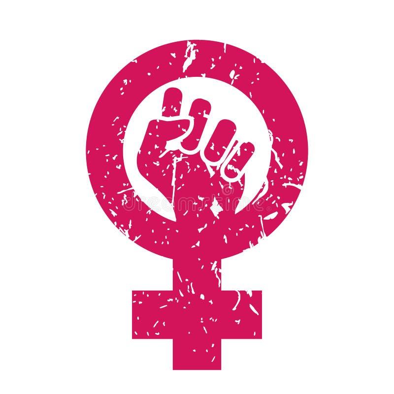 Вектор символа женщины Сила феминизма Женский значок Феминист рука Права девушек Женщины сопротивляются изолированной иллюстрации иллюстрация вектора