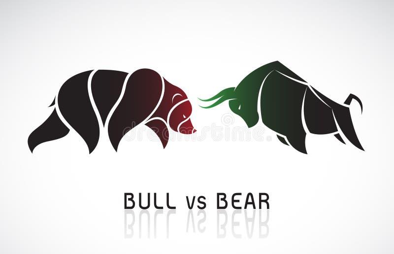 Вектор символов быка и медведя тенденций фондовой биржи Концепция фондовой биржи и дела Растущая и падающая конъюнктура иллюстрация штока
