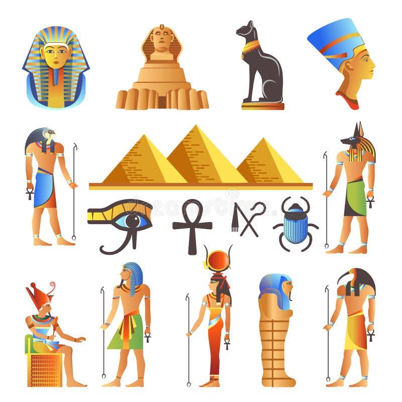 Вектор символов культуры Египта изолировал значки богов и священных животных иллюстрация штока