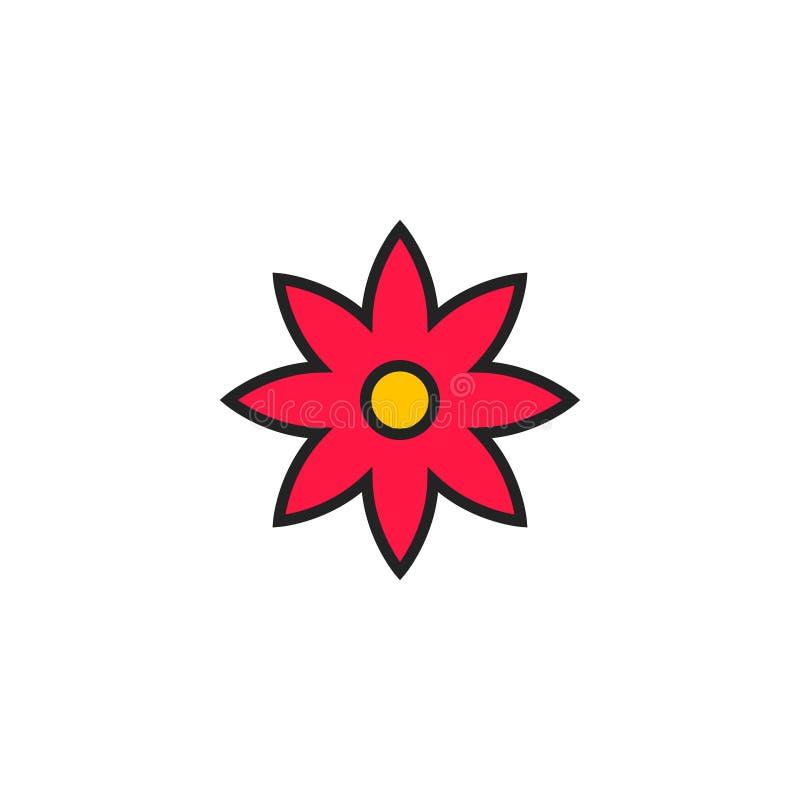 Вектор, символ или логотип значка цветка плоские иллюстрация вектора