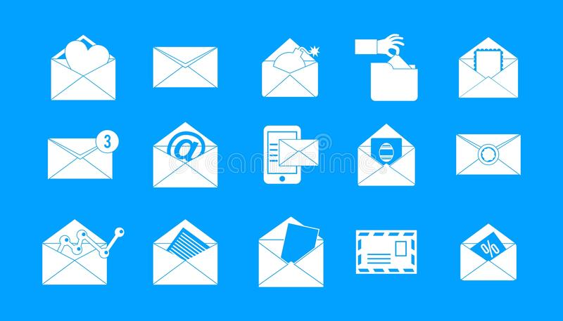 Вектор сини значка почты установленный иллюстрация вектора