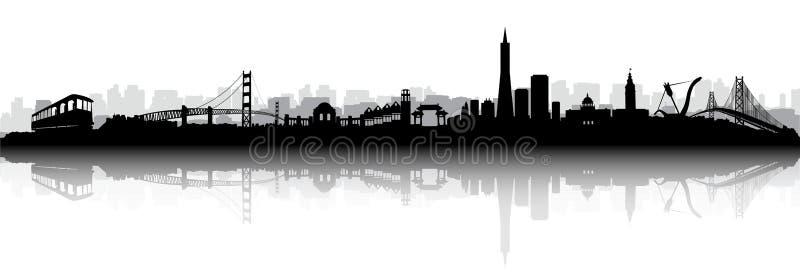 Вектор силуэта горизонта Сан-Франциско иллюстрация вектора