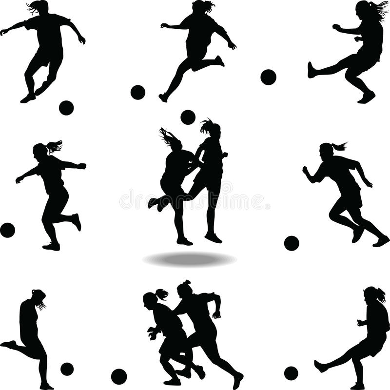 Вектор силуэта футболиста женщины стоковое изображение