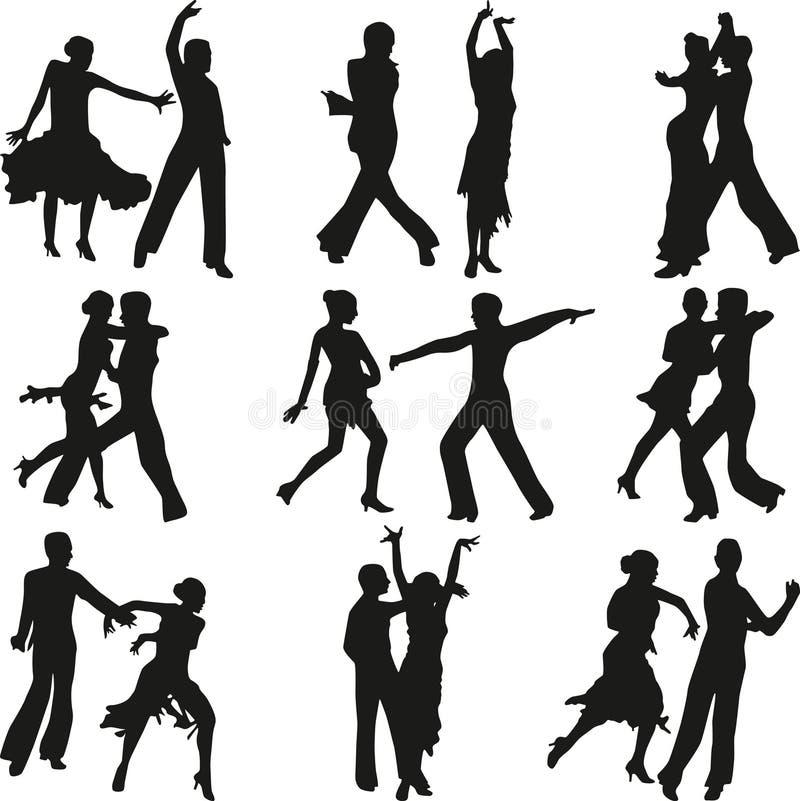 Вектор силуэта людей танца стоковое фото