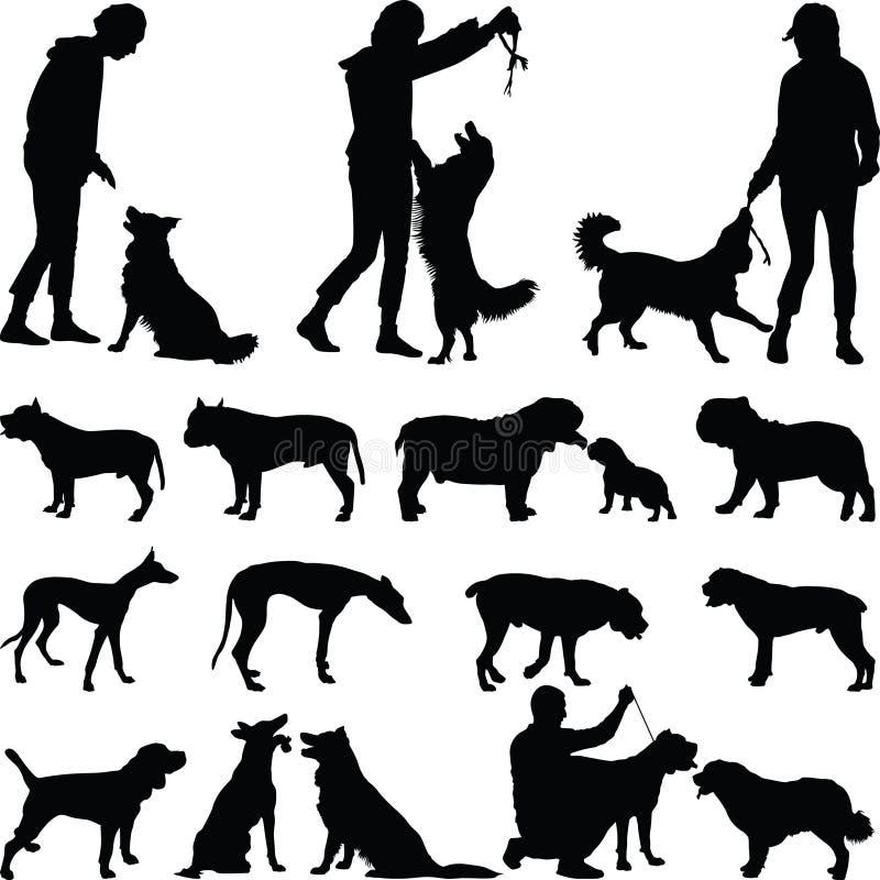 вектор силуэта grunge собаки предпосылки стоковая фотография