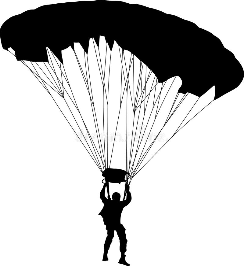 Вектор силуэта Parachutist стоковые изображения