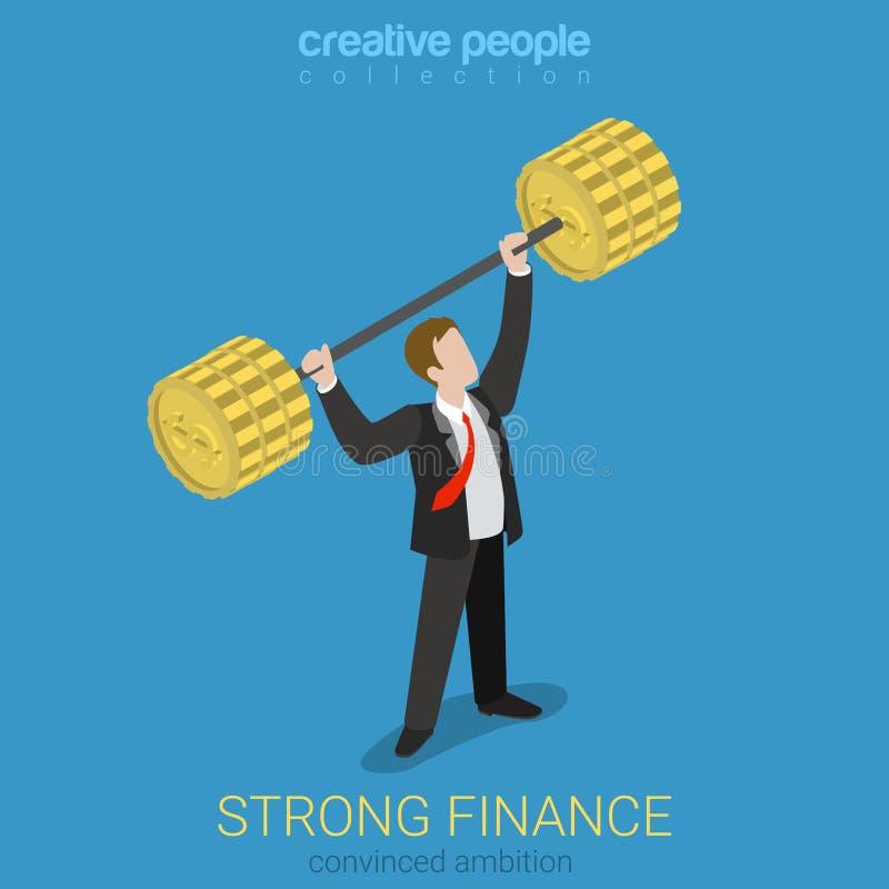 Вектор сильной силы бизнесмена положения финансов плоский равновеликий иллюстрация штока