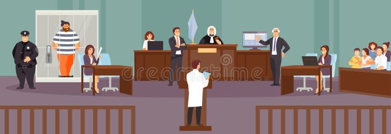 Вектор слушания суда иллюстрация штока