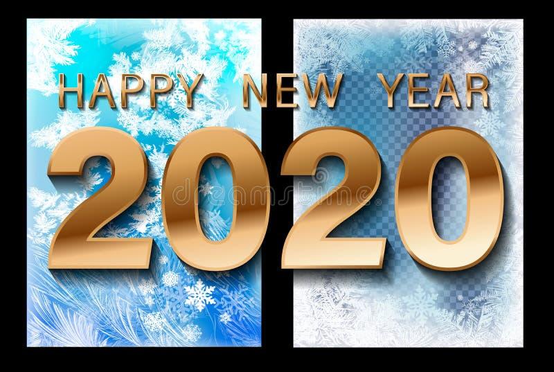 Вектор 2020 снега рождества понижаясь изолированный на темной предпосылке Влияние украшения снежинки прозрачное Картина хлопь сне иллюстрация штока