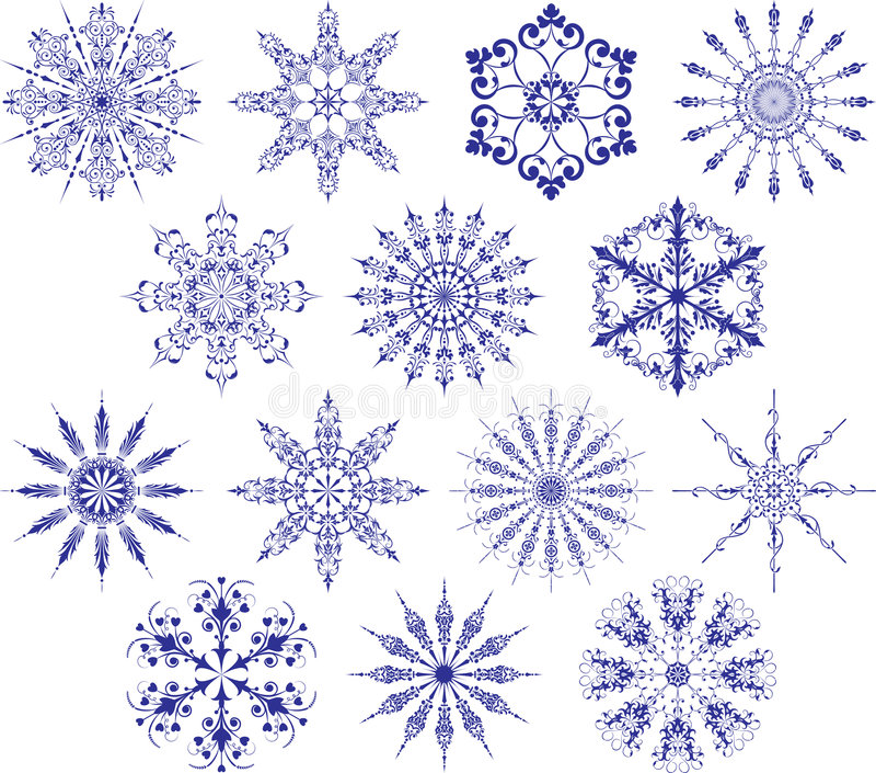 вектор снежинок собрания иллюстрация вектора