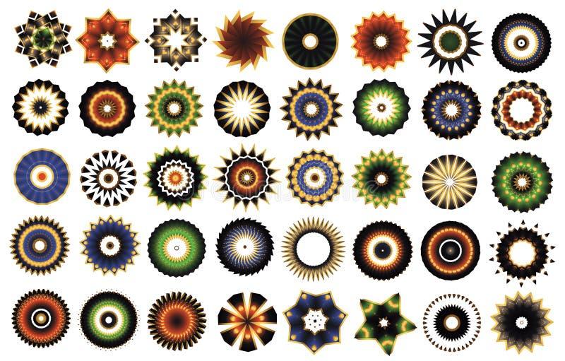 Вектор собрания значков цветов мандалы цветка guilloche розетки 40 частей иллюстрация штока
