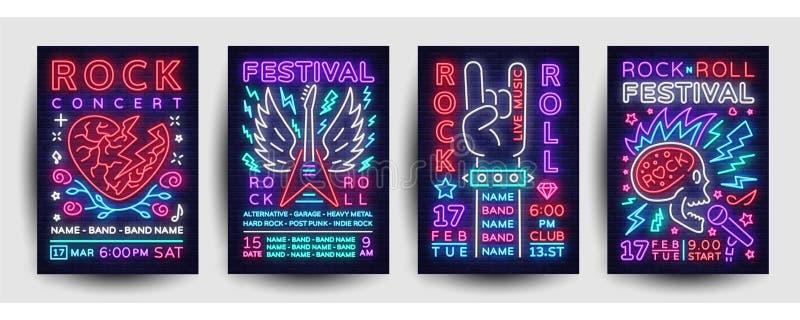 Вектор собрания плаката концерта рок-музыки Установленные рогульки, неоновый стиль фестиваля рок-музыки шаблона дизайна, неоновое иллюстрация штока