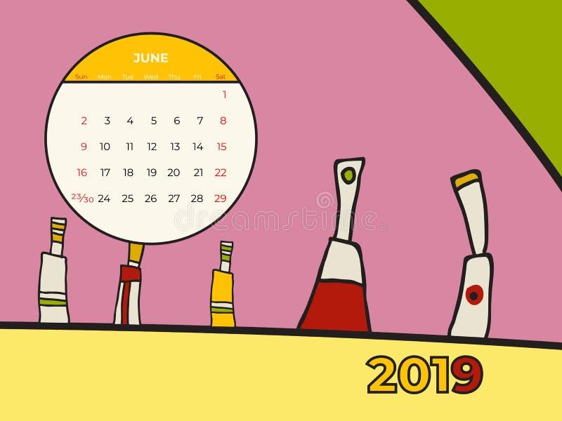 Вектор современного искусства конспекта календаря 2019 -го в июне Стол, экран, настольный месяц 06,2019, красочный 2019 шаблон ка иллюстрация штока