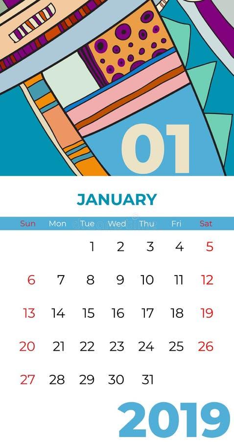 вектор современного искусства конспекта календаря 2019 -го в январе Стол, экран, настольный месяц 01,2019, красочный шаблон 2019  иллюстрация штока