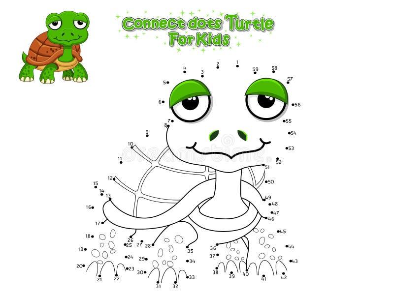 Вектор соединяет точки и рисует милую черепаху мультфильма E Иллюстрация вектора с морем стиля мультфильма смешным иллюстрация штока