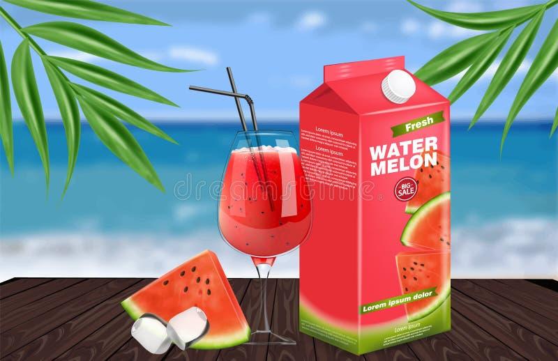 Вектор сока арбуза реалистический Дизайн ярлыка размещения продукта Свежая насмешка напитка вверх Органическое естественное сочно иллюстрация вектора