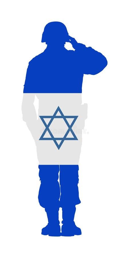 Вектор солдата армии Израиля салютуя изолированный на белой предпосылке День памяти погибших в войнах, день ветерана, член Дня не иллюстрация вектора