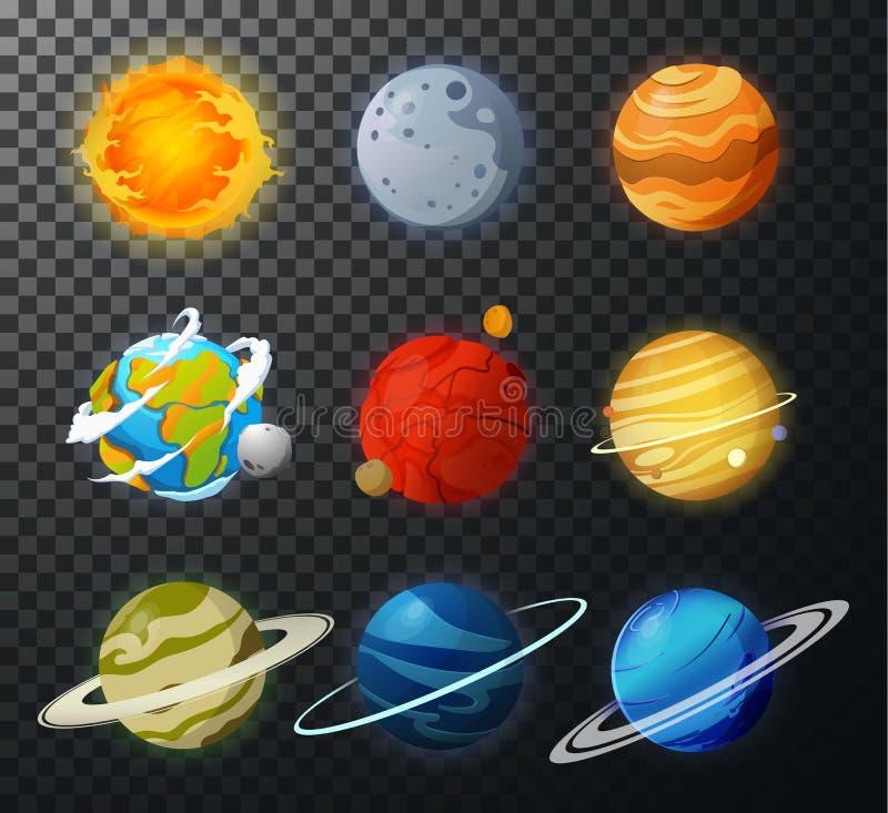 Вектор солнечной системы изолированный планетами иллюстрация штока