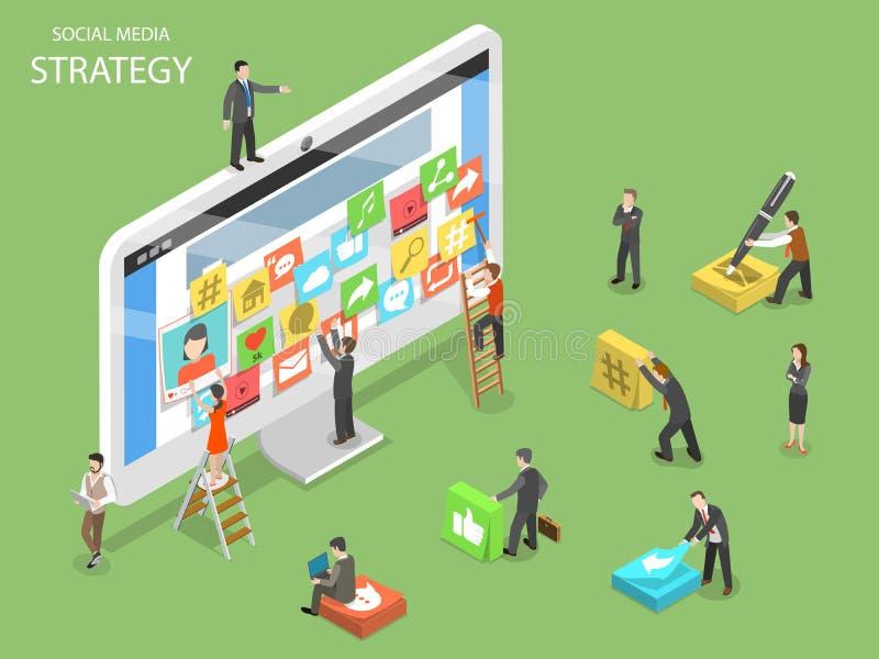 Вектор социальной стратегии средств массовой информации плоский равновеликий иллюстрация вектора
