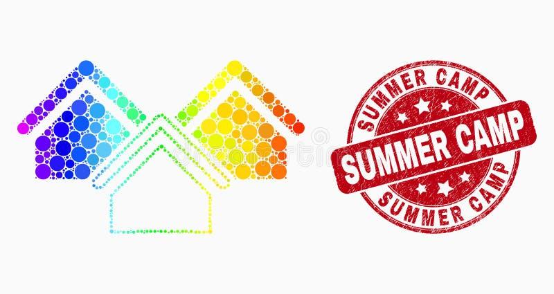 Вектор спектральное Pixelated расквартировывает водяной знак значка и летнего лагеря Grunge иллюстрация штока