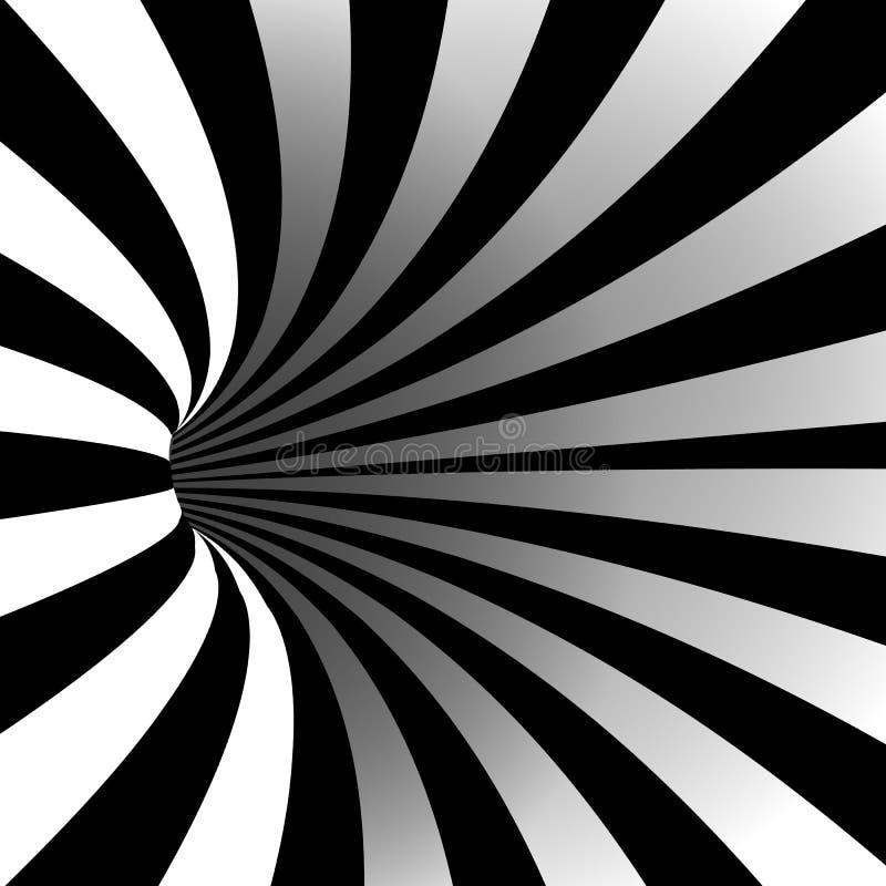 Вектор спирального вортекса иллюзион искусство оптически Тоннель Striped движением Иллюзия свирли Геометрическая волшебная предпо бесплатная иллюстрация