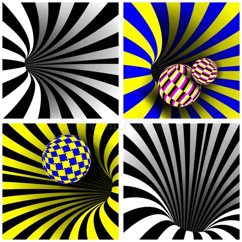 Вектор спирального вортекса установленный вектор Оптически искусство 3d Переплетенная спиралью форма тоннеля вортекса Влияние отв иллюстрация вектора