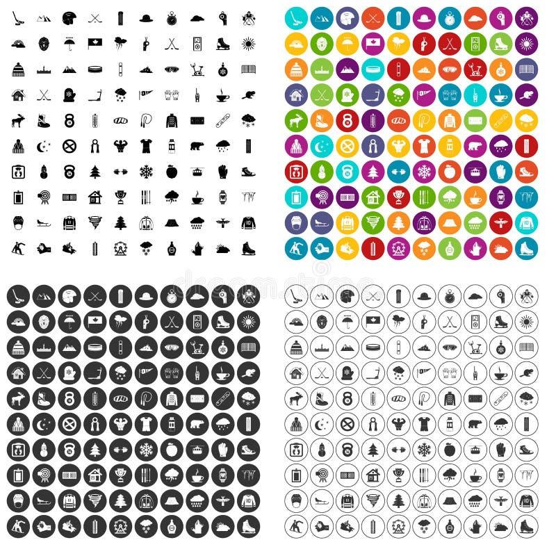 100 вектор спорта зимы установленный значками различный бесплатная иллюстрация