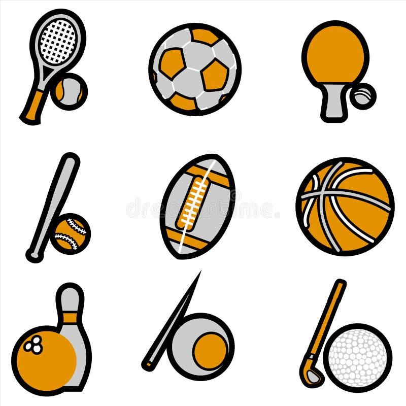 вектор спорта предмета иконы установленный иллюстрация штока