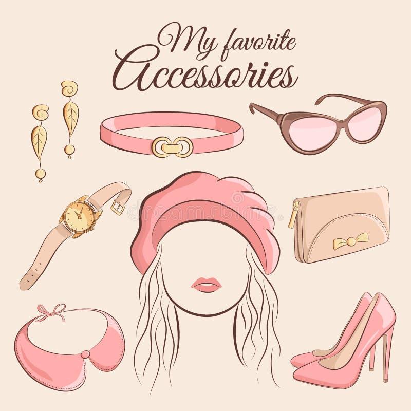 вектор способа установленный Иллюстрация стильного ультрамодного аксессуара с девушкой Берет, серьги, пояс, солнечные очки, вахты иллюстрация вектора
