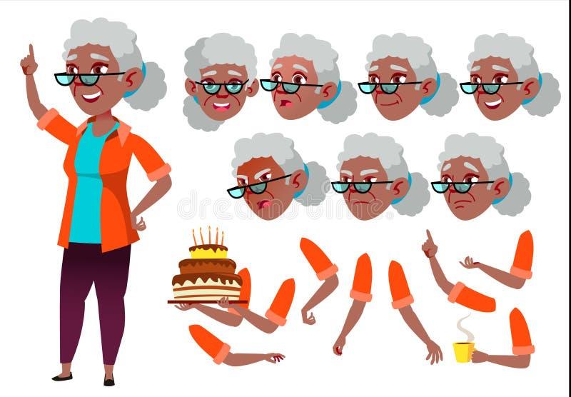 Вектор старухи Старшая персона черный Американец Афро Постаретый, престарелый Красота, образ жизни Эмоции стороны, различные иллюстрация штока