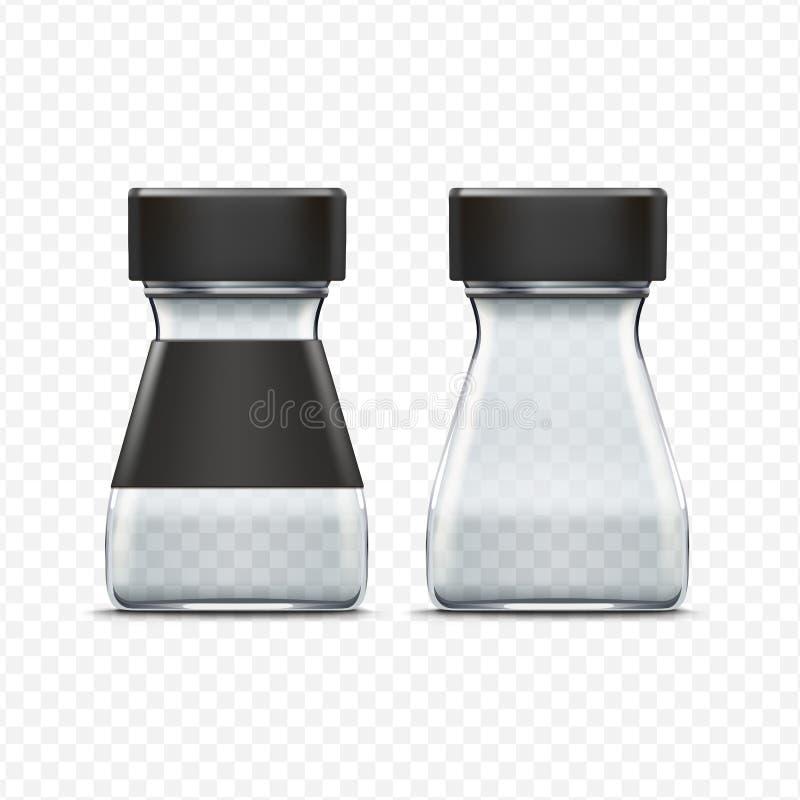 Вектор стеклянный опорожняет пакет опарника упаковывая иллюстрация штока