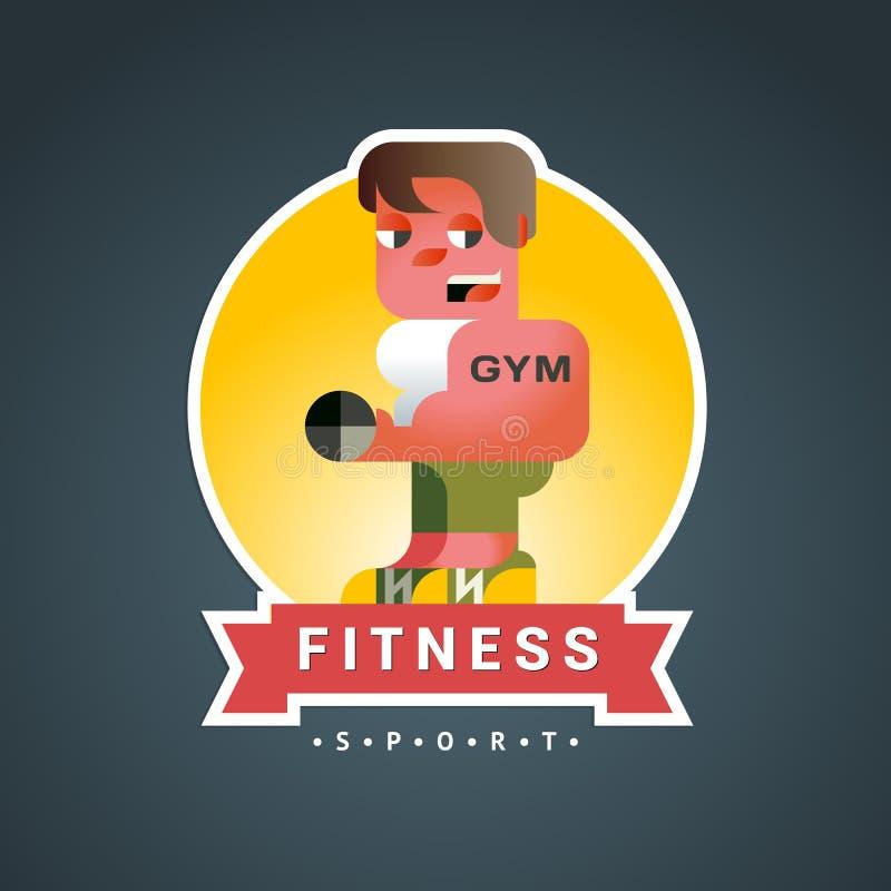 Вектор стикера фитнеса круглый в стиле sovermennom плоско геометрическом с лентой бесплатная иллюстрация