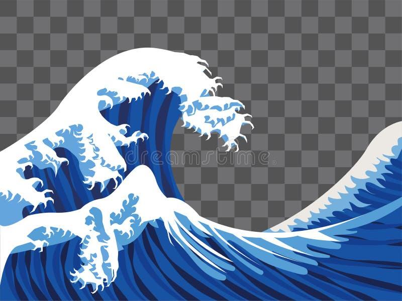 Вектор стиля краски Японии волны моря бесплатная иллюстрация
