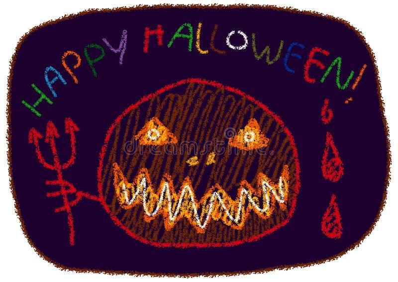 Вектор стиля чертежа ` s детей ` хеллоуина ` счастливый иллюстрация штока